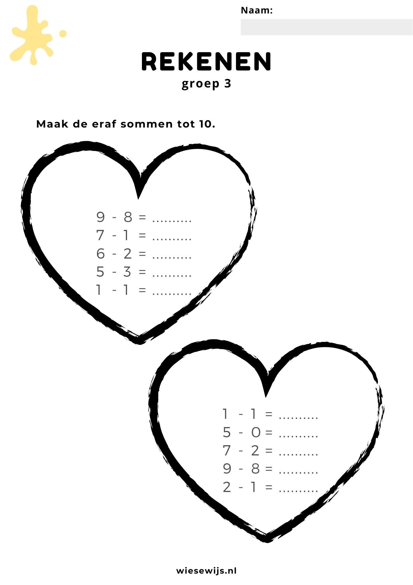 rekenen - eraf sommen maken tot 10 - valentijnsdag