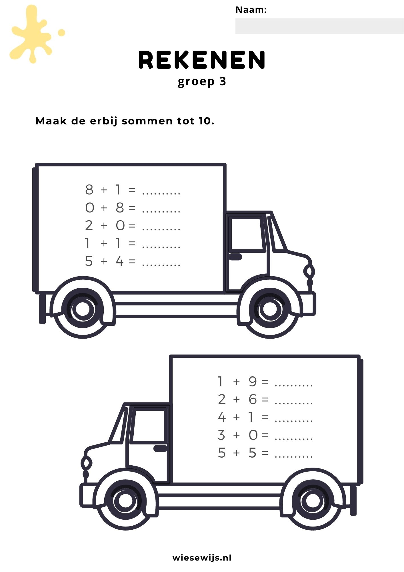 rekenen - sommen maken tot 10 - vervoer