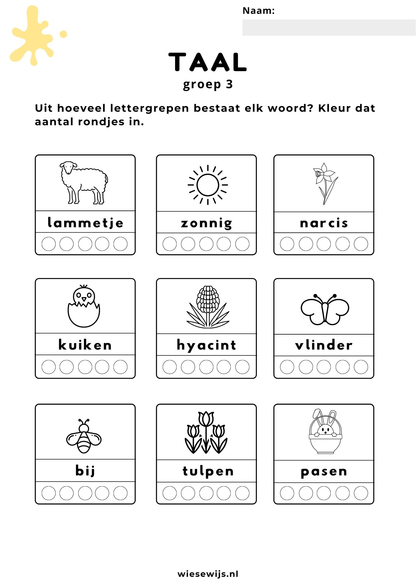 taal - lettergrepen - lente